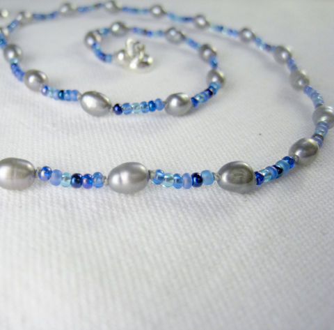 Teen,Girls,&,Womens,Jewelry,,Grey,Freshwater,Pearls,,Blue,Beads,Necklace,,Magnetic,Clasp,Children,Jewelry,Necklace,Freshwater_pearls,magnetic_clasp,beaded,grey,tween,teen,blue,women,holiday,birthday,Freshwater Pearls,Argentium Sterling Silver findings,silver plated lead safe magnetic clasp,silk cord,Japanese glass beads,Czech glass pend
