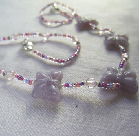 Girls,Jewelry,,Light,Purple,Butterflies,,Pink,&,Lavender,Beads,,Kids,Beaded,Necklace,Children,Jewelry,girls,little_peeps,birthday,butterflies,magnetic_clasp,holiday,gift,purple,blue,kids,summer,lavender,pink,Silk cord,Czech Glass,Silver plated magnetic clasp,Argentium Sterling Silver,Japanese Glass