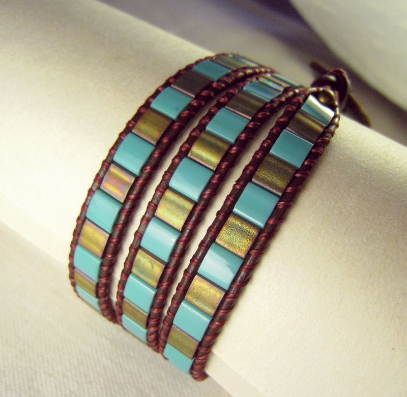 Leather Triple Wrap Bracelet, Turquoise & Bronze Japanese Tila Beads, button closure - product images  of