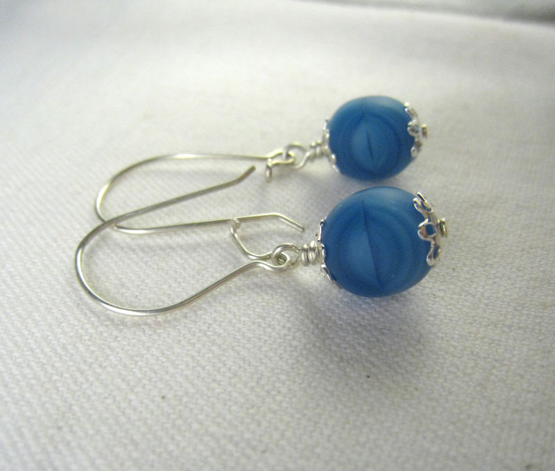 Blue Czech Glass Earrings, Argentium Sterling Silver, Womens Everyday jewelry - product images  of
