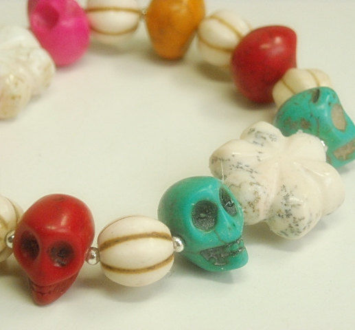 Colorful Stretch Skull Bracelet, Day of the Dead, Día de los Muertos, Multicolor, Side Drilled Skulls, Gemstone - product images  of