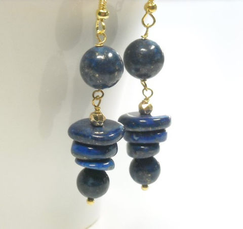 Lapis,Lazuli,Gemstone,Dangle,Earrings,,Art,Deco,,Deep,Blue,,Graduated,Disks,,Spiral,,Whimsy,Jewelry, Earrings, lapis lazuli gemstone dangle earrings, navy blue lapis, geometric earrings, lapis graduated circles, lapis stone, blue gemstone, whimsy