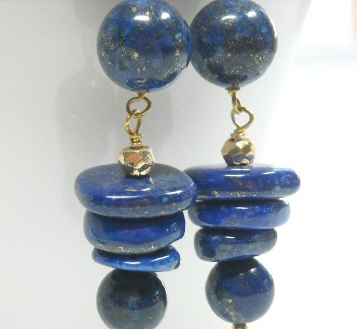 Lapis Lazuli Gemstone Dangle Earrings, Art Deco, Deep Blue, Graduated Disks, Spiral, Whimsy - product images  of