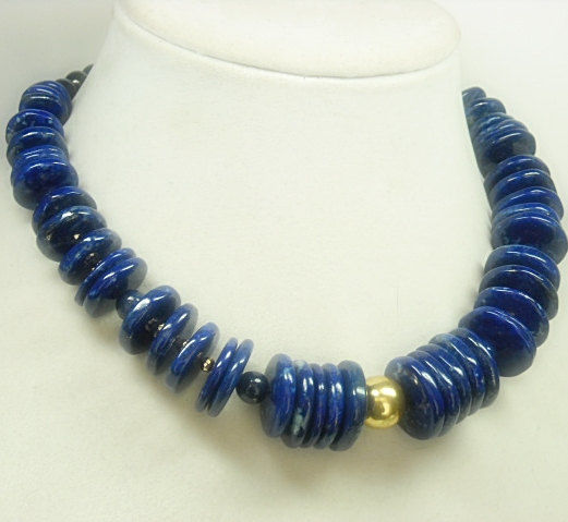 Chunky Lapis Lazuli Statement Necklace, Graduated Disks, Dark Royal Blue Lapis, Lapis Gemstones, Lapis Lazuli Jewelry, Gifts for Her - product images  of