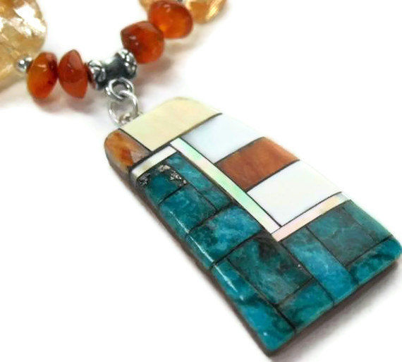 Genuine Turquoise and Citrine Nugget Necklace, Native Inlaid Pendant, Carnelian, Turquoise Jewelry, November December Birthstone, Southwest - product images  of