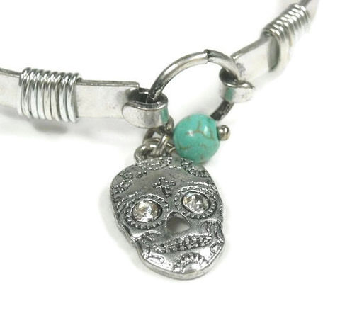 Skull,Bracelet,-,Minimalist,Bangle,Day,of,the,Dead,Dia,de,los,Muertos,Sugar,Charm,Jewelry,Silver,Rocker,sugar_skull,skull_bangle,skull_bracelet,day_of_the_dead,Dia_de_los_Muertos,sugar_skull_jewelry,bangle_bracelet,minimalist,rocker_grunge_goth,gothic_skull_jewelry,skull,boho_southwest,silver_skull_bangle,sugar skull charm,turquoise magnesi