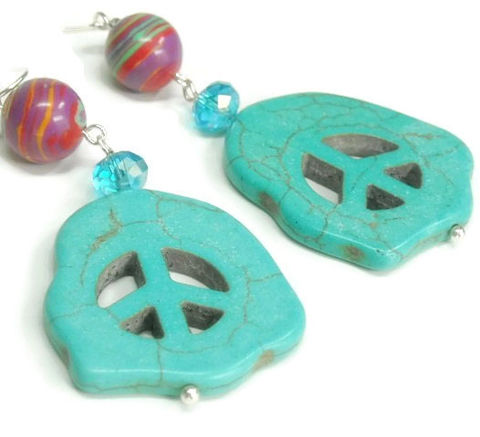 Peace,Sign,Earrings,,Turquoise,,Hippie,,Boho,,60s,,Sixties,,Peace,,Rainbow,,Women,,Teen,,Symbol,,Beaded,Dangle,Jewelry,Earrings,World_Peace_Symbol,Turquoise,Peace_Symbol,Teen_Peace_Medallion,Peace_Jewelry,Peace_Sign,World_Peace,Gemstone_Peace,Peace_Sign_Earrings,Hippie_60s_Earrings,Peace_Earrings,black_friday_cyber_m,ball pin,carved magnesite peace bead,eye