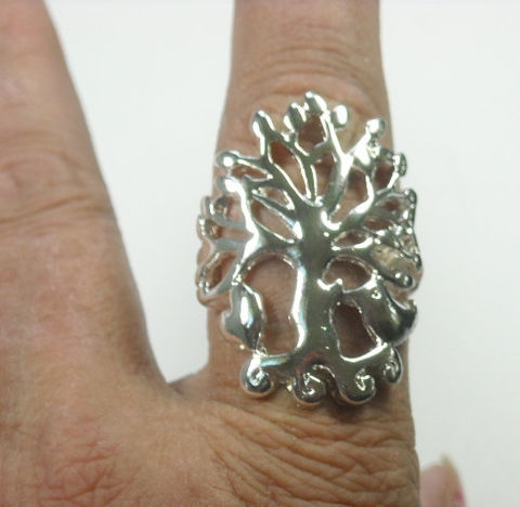Silver,Filigree,Tree,of,Life,Stretch,Ring,Silver Filigree Metal Tree of Life Stretch Ring - Adjustable Metal Tree of Life Ring - Woodland - Nature - Symbolic Jewelry- Family Tree - Symbolic Tree - Branches - Nature -Hippie Jewelry