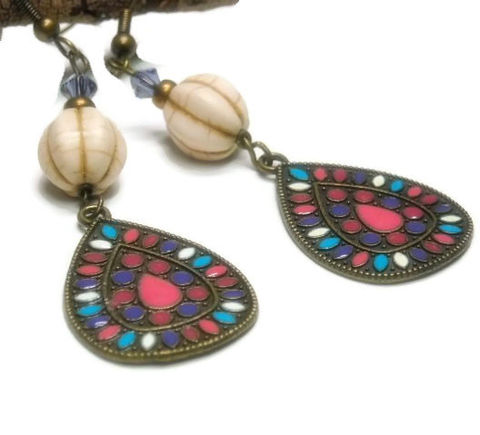 Brass,Enamel,Earrings,-,Colorful,Dangle,Teardrop,Multcolor,Mod,Boho,Gemstone,Drop,Jewelry,brass_earrings,teardrop_earrings,dangle_earrings,boho_bohemian,hippie_earrings,drop_earrings,pink,blue,white,red,southwest,gemstone_earrings,black_friday_cyber_m,brass teardrop charms,brass ear wires