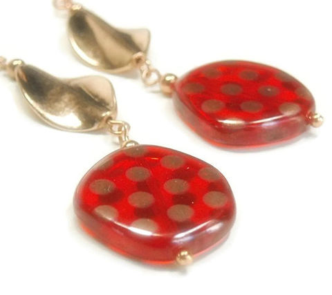 Retro,Polka,Dot,Earrings,-,Red,and,Copper,Dangle,Glass,Boho,Fun,Jewelry,Retro_Earrings,Dangle_Earrings,Polka_Dot_Earrings,Bohemian,Fun_Jewelry,Retro_Jewelry,Glass_Earrings,Copper_Earrings,Dots,Red_Czech_Glass,black_friday_cyber_m,twisted copper beads,20mm czech glass disks,ball pins,eye pins,3mm co