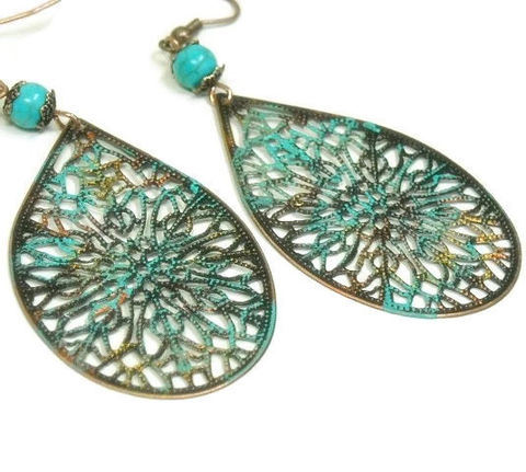 Bohemian,Filigree,Earrings,-,Long,Copper,Verdigris,Patina,Dangle,Rustic,Art,Deco,Hippie,Jewelry,Boho,bohemian_earrings,bohemian_jewelry,patina_earrings,filigree_earrings,dangle_earrings,oversized_earrings,art_deco_jewelry,copper_patina,rustic_southwest,hippie_earrings,boho_chic_earrings,turquoise_earrings,boho_jewelry,copper fish hooks,p