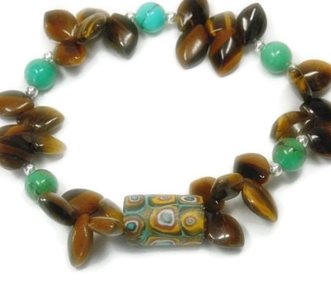 Turquoise,Bracelet,-,Genuine,Jewelry,with,Tigers,Eye,Briolette,Teardrops,Ancient,African,Focal,Tribal,turquoise_bracelet,turquoise_jewelry,genuine_turquoise,millefori_focal,december_birthstone,tiger_eye_bracelet,tigers_eye,tribal,native_trade_focal,ancient_focal_bead,real_turquoise,tribal_boho,black_friday_cyber_m,6mm turquoise rounds,4mm
