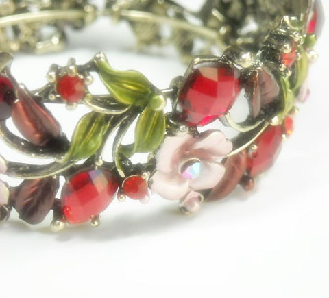 Vintage,1970s,Hinged,Cuff,Bracelet,-,Wide,Red,Rhinestone,Roses,,Hearts,,Leaves,Valentine,Mothers,Day,Red,,Pink,Floral,Flowers,Jewelry,Cuff_Bracelet,Vintage_Cuff,Hinged_Cuff,1970's_Cuff,Jewelled_Cuff,Floral_Cuff,Rhinestone_Bracelet,Valentine_Gift,Hearts_Roses_Leaves,black_friday_cyber_m,mothers_day,Red_Pink_Cuff,metal hinged cuff with stones