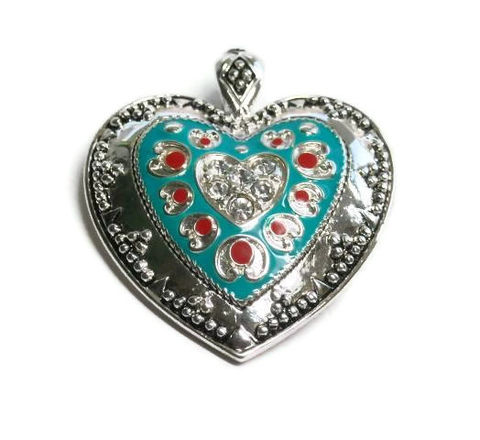 Magnetic,Heart,Pendant,Magnetic Heart Pendant, Clip On Interchangeable Pendant, Turquoise Red Silver Heart with Rhinestones, Valentines, Western, Southwest Heart, Cowgirl, Magnetic Closure