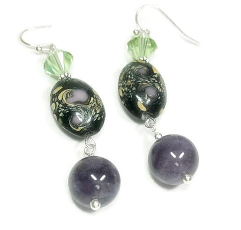 Amethyst,Earrings,-,Handpainted,Glass,and,Dangle,Purple,Green,Mist,Fall,Jewelry,Handmade,Amethyst_Earrings,Amethyst_Jewelry,Glass_Drop_Earrings,February_Birthstone,Bohemian,Gemstone_Earrings,Painted_Glass,Painted_Earrings,black_friday_cyber_m,10mm amethyst rounds,20mm x 26mm handpainted glass ovals,6m