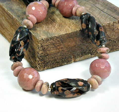 Leopardskin,Jasper,Necklace,-,Chunky,Blush,Rhodonite,and,Carved,Pink,Black,Bodacious,Gemstone,Jewelry,Beaded,leopardskin_jasper,leopard_stone,jasper_necklace,rhodonite_necklace,black,gemstone_jewelry,leopard_jasper,carved_stones,leopardskin,chunky_necklace,one_of_a_kind,tribal,blush_pink,carved leopardskin jasper tube beads,rhodonite bead