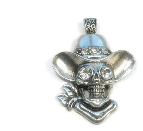 Magnetic,Skull,Pendant,Magnetic Skull Pendant, Clip On Skull Pendant with Rhinestones, Interchangeable, DIY Necklace, Skull Jewelry, Cowboy Skull, Southwest