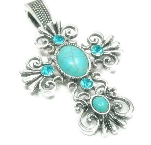 Magnetic,Cross,Pendant,Magnetic Cross Pendant - Clip On Ornate Cross Magnetic Pendant - Turquoise - Interchangeable Pendant - Aqua Rhinestones - Religious Cross