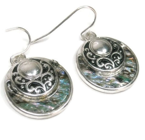 Abalone,Disk,Earrings,,Dangle,Filigree,Circle,Drop,Earrings,with,Abalone,,Scroll,,Shell,Beach,,Ocean,,Sea,Jewelry,abalone_earrings,dangle_earrings,drop_earrings,abalone_jewelry,shell_earrings,ocean,sea,beach,scroll_filigree,abalone,boho,disk_circle_earrings,black_friday_cyber_m,silver plated fish hooks,circle charms