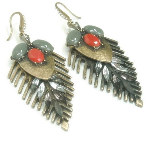 Tribal,Mixed,Media,Earrings,-,Long,Dangle,Metal,One,of,a,Kind,Boho,Hippie,Gypsy,Red,Gray,Rhinestones,Jewelry,tribal_earrings,long_dangle_earrings,mixed_metals,red_stones,gray_stones,rhinestones,feather_earrings,southwest_earrings,boho_chic,hippie,statement_earrings,tribal_jewelry,black_friday_cyber_m,brass,gray stones,red stones,earw