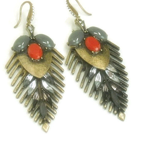 Tribal Mixed Media Earrings - Long Dangle Earrings - Mixed Metal - One of a Kind - Boho - Hippie - Gypsy - Red - Gray - Rhinestones - product images  of