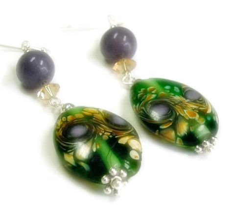 Amethyst,Earrings,-,Handpainted,Glass,and,Dangle,Cypress,Muave,Mist,Fall,Jewelry,Handmade,Amethyst_Earrings,Amethyst_Jewelry,Glass_Drop_Earrings,February_Birthstone,Bohemian,Gemstone_Earrings,Painted_Glass,Purple,Green,Painted_Earrings,black_friday_cyber_m,10mm amethyst rounds,20mm x 26mm handpainted glass ovals,6m