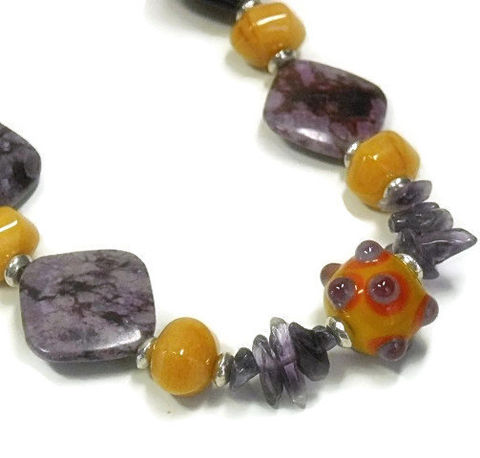 Boho,Sugilite,Necklace,,Purple,Amethyst,,Orange,Aventurine,,Chunky,,Lampwork,Focal,,Mustard,,Violet,,Funky,,Fun,Jewelry,,Gemstone,Necklace,Jewelry,Gemstone_Necklace,Orange_Aventurine,Purple_Sugilite,Chunky_Necklace,Mod_Necklace,Summer_Necklace,bohemian_rhapsody,purple,mustard,amethyst_necklace,boho_chic,funky_fun_jewelry,black_friday_cyber_m,sugilite beads,peach aventurine gemstones