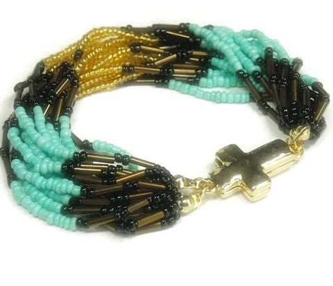 Cross,Seed,Bead,Bracelet,-,Multistrand,Beaded,Turquoise,,Brown,Gold,Magnetic,Closure,Southwest,Jewelry,Beaded_Bracelet,Cross_Bracelet,Cross_Jewelry,Multistrand_Bracelet,Turquoise,Seed_Bead_Bracelet,Southwestern_Jewelry,Southwest_Bracelet,Magnetic_Cross,Bohemian_Bracelet,black_friday_cyber_m,seed beads,bugle beads,magnetic cross