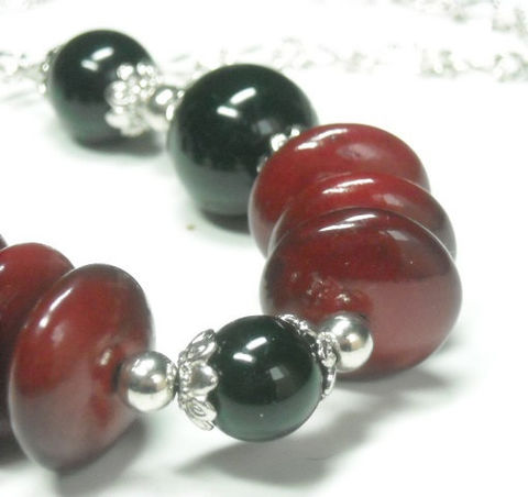 Red,and,Black,Focal,Necklace,-,Valentine,Chunky,Statement,Gift,for,Her,Bohemian,Chic,Graduated,Beads,Mixed,Media,Jewelry,focal_necklace,red_black_focal,statement_necklace,beaded_necklace,chain_necklace,mixed_media,black,red,bubble_bauble_bob,collar,chunky_focal,statement_jewelry,black_friday_cyber_m,black rounds,red disks,silver rounds,bead caps,etched clai