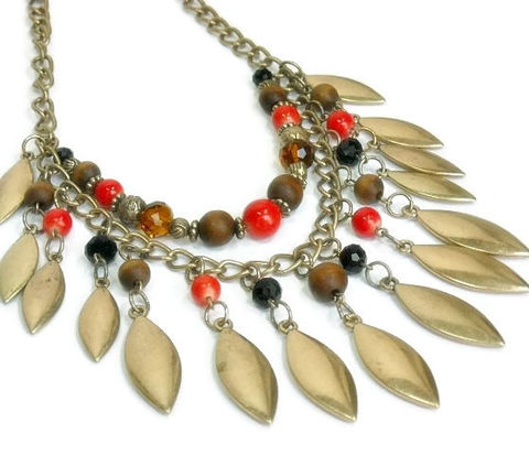Fringe,Necklace,,Layered,Necklace,Set,,Statement,Jewelry,,Autumn,Boho,,Southwest,Red,Brown,Gold,Jewelry,fringe_necklace,statement_necklace,tribal_jewelry,necklace_set,southwest_necklace,southwest_jewelry,layered_necklace,layers_necklace,red_brown_gold,autumn_fall,teardrop_fringe,multi_strand,boho_bohemian,lobster clap,chain,acrylic beads,wo