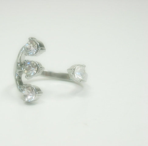 Rhodium Crystal Cuff Open Ring - product images  of