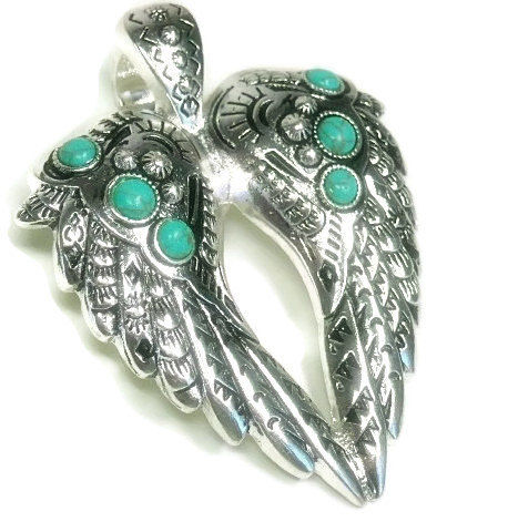 Magnetic,Angel,Wing,Pendant,Magnetic Angel Wing Clip On Pendant, Silver Magnetic Angel Wing Pendant - Turquoise Angel Wings  - Clip On Magnetic Pendant - Removable - Hope - Love - Angel Jewelry - Turquoise Pendant