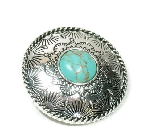 Magnetic,Concho,Pendant,Magnetic Concho Pendant - Silver Clip On Necklace Pendant - Interchangeable Magnetic Pendant - Stamped Western Magnetic Pendant with Turquoise - Cowgirl - Southwest