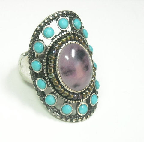 Long,Turquoise,Stretch,Ring,with,Purple,Center,Stone,Long Turquoise Stretch Ring Purple, Turquoise Gemstone Ring, statement ring, boho_bohemian, adjustable, southwest, rocker hippie, chunky