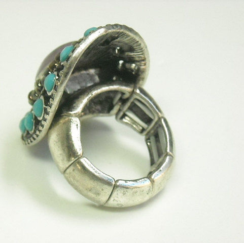 Long Turquoise Stretch Ring with Purple Center Stone - product images  of
