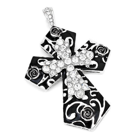 Magnetic,Black,Cross,Pendant,Magnetic Cross Pendant - Black Cross with Rhinestones and Roses Magnetic Necklace Pendant - Clip On - Cowgirl - Interchangeable - DIY Jewelry