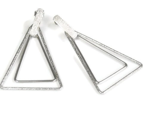 Double,Triangle,Post,Earrings,-,Silver,Dangle,Geometric,Jewelry,Boho,Hippie,Minimalist,Industrial,triangle_earrings,post_earrings,triangle_stud_dangle,brushed_silver,double_triangle,geometric,industrial_earrings,minimalist_earrings,boho_bohemian,triangle_posts,silver_metal,triangle,tt_tpt_123_punks,silver plated metal