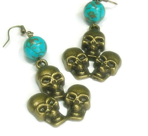 Brass,Skull,Earrings,-,Triple,Turquoise,with,Dangle,Goth,Halloween,Jewelry,Skull_Earrings,Skull_Jewelry,Day_Of_The_Dead,Dia_De_Los_Muertos,Brass_Skulls,Triple_Skulls,Skull_Charm,black_friday_cyber_m,brass skull charms,eye pins,brass fish hooks,12mm magnesite rounds