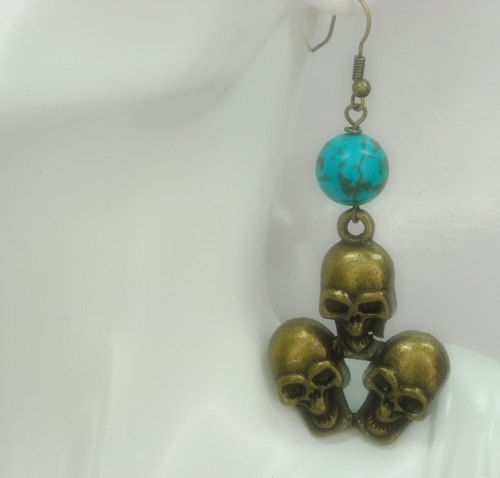 Brass Skull Earrings - Triple Skull - Turquoise Earrings with Brass Skull Dangle - Goth - Halloween - product images  of