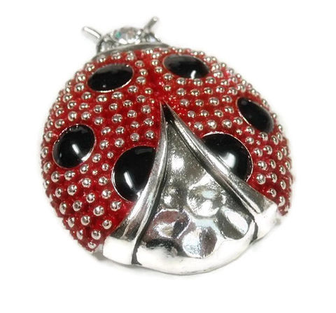 Magnetic,Ladybug,Pendant,Magnetic Ladybug Pendant, Clip On Ladybug Pendant, Silver and Red Dot Textured Ladybug, Interchangeable, Nature, Bug Pendant