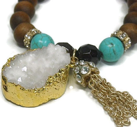 White,Druzy,Bracelet,-,Beaded,Nugget,Drusy,Turquoise,and,Wood,with,Druze,Jewelry,beaded_bracelet,white_druzy,turquoise_and_wood,druzy_nugget,drusy_druze_druse,crystal_bracelet,druzy_jewelry,druzy_white,tassel_bracelet,natural_druzy,southwest,boho_chic,black_friday_cyber_m,gold plated chain,crystal bead cap,gold dipped