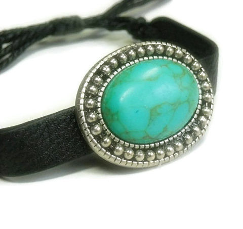 Black,Leather,Bracelet,with,Turquoise,Cabochon,-,Adjustable,and,Cowgirl,Southwest,Western,Jewelry,Cuff,leather_bracelet,turquoise_bracelet,turquoise_cabochon,adjustable,leather_jewelry,turquoise_jewelry,western,cowgirl_bracelet,southwest,cowgirl_jewelry,black_friday_cyber_m,black_leather,black_and_turquoise,turquoise cabochon,hemp,bea