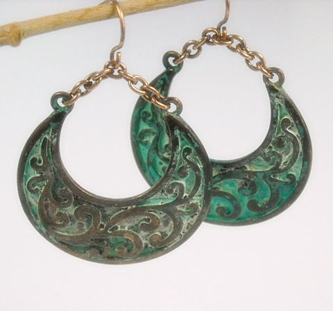 Bohemian,Crescent,Earrings,turquoise,boho,earrings,jewelry,Stamped,Copper,Verdigris,Patina,Rustic,Art,Deco,Jewelry,bohemian_earrings,bohemian_jewelry,crescent_earrings,turquoise_earrings,boho_earrings,boho_jewelry,rustic_southwest,crescent_jewelry,art_deco_jewelry,patina_earrings,dangle_earrings,bohemian,copper fish hooks,patina,copper filig