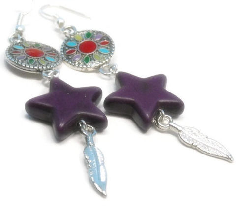 Concho,Style,Earrings,,Southwest,,Star,,Feather,,Cowgirl,,Purple,,Western,,Dangle,,Chunky,Jewelry,Earrings,Stone,cowgirl_earrings,star_earrings,feather_earrings,dangle_earrings,cowgirl_jewelry,western_jewelry,western_earrings,southwest_earrings,southwest_jewelry,black_friday_cyber_m,purple_earrings,purple_stars,20mm magnesite stars,concho char