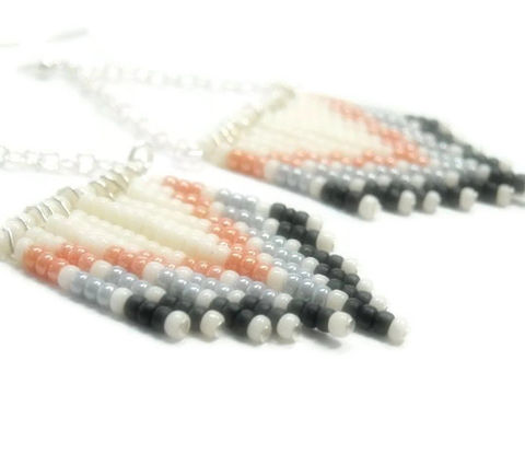Chevron,Earrings,-,Beaded,Southwest,Sterling,Silver,Dangle,Handmade,Fringe,Boho,Hippie,Jewelry,chevron_earrings,dangle_earrings,beaded_earrings,chevron_pattern,chevron_jewelry,southwest_earrings,boho_earrings,black_friday_cyber_m,fringe_earrings,chevron_fringe,peach_gray_cream,native_earrings,seed_bead_earrings,Size 11 seed