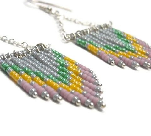 Chevron,Earrings,-,Beaded,Southwest,Sterling,Silver,Dangle,Handmade,Fringe,Boho,Hippie,Jewelry,chevron_earrings,dangle_earrings,beaded_earrings,chevron_pattern,chevron_jewelry,southwest_earrings,boho_earrings,trend,black_friday_cyber_m,fringe_earrings,chevron,green_yellow_pink,chevron_fringe,Size 11 seed beads,pins,sterling