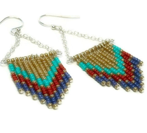 Chevron,Earrings,-,Beaded,Southwest,Sterling,Silver,Dangle,Handmade,Fringe,Boho,Hippie,Jewelry,chevron_earrings,dangle_earrings,beaded_earrings,chevron_pattern,chevron_jewelry,southwest_earrings,boho_earrings,blue,turquoise,red,gold,trend,black_friday_cyber_m,Size 11 seed beads,pins,sterling silver jewelry wire,sterling silver chai