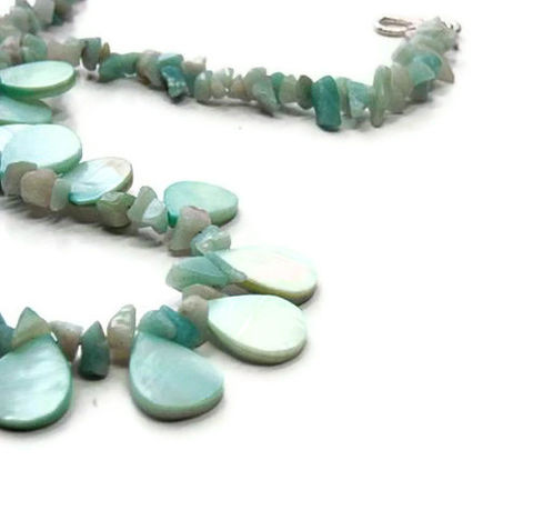 Bib,Necklace,-,Ocean,Blue,Shell,Bubble,Collar,Tropical,Aqua,Beach,Tribal,Natural,Amazonite,Jewelry,Shell_Necklace,Summer_Necklace,Beach_Necklace,Tropical_Necklace,Tribal_Necklace,Ocean_Blue,Aqua_Necklace,Amazonite_Necklace,Pastel_Blue,Winter,Bubble_Necklace,natural_jewelry,shell_jewelry,20mm shell beads,silver plated copper S clasp,fre
