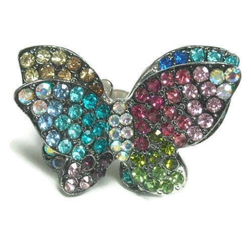 Crystal Multicolor Butterfly Ring - product images  of