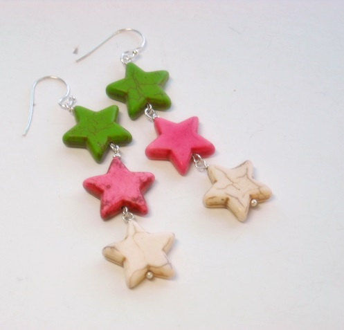 Neon Star Earrings, Pink, White, Lime Green, Neon Jewelry, Dangle, Patriotic, Americana, Star Jewelry, Boho, Hippie, Teen - product images  of